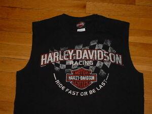 Vtg-Harley-Davidson-Racing-Sleeveless-Shirt-Black-Lake-Of-Ozarks-MO-M-Sharp