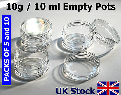 10g / 10ml Empty Plastic Pots, Jars, Clear Containers - UK Stock