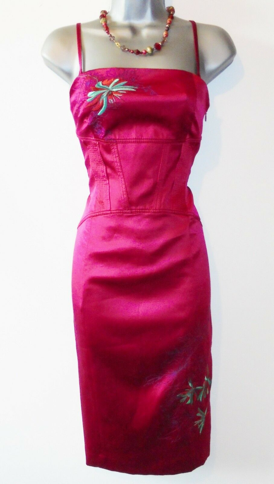 Sexy Karen Millen Silk Oriental Embroiderot Evening Occasion Wiggle Dress Sz 10