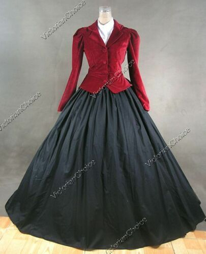 Victorian Dresses, Clothing: Patterns, Costumes, Custom Dresses    Victorian Velvet Jacket Dress Theater Vampire Women Halloween Costume RED N 166 $155.00 AT vintagedancer.com