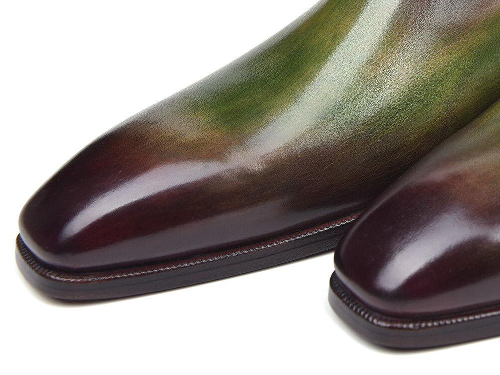 Paul Parkman Side Shoes Lace Oxfords Green & Bordeaux  Shoes Side Handmade Pelle Man Shoe 4ef80b