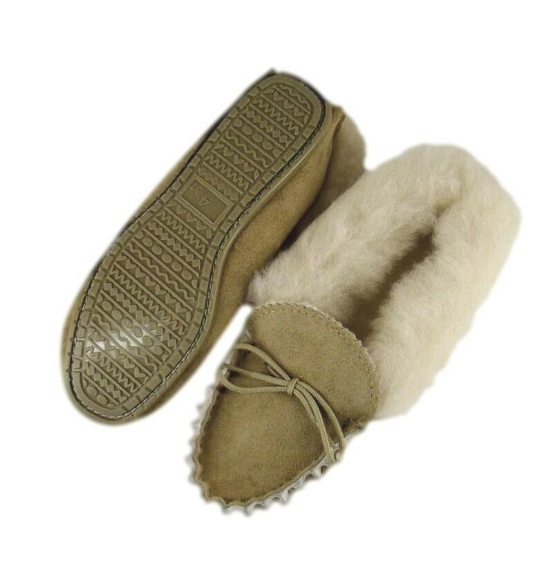 Ladies Pure Sheepskin Lined Moccasins with PVC sole Handmade in the UK