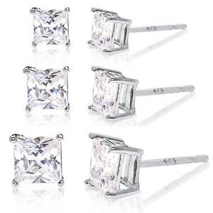 98b3f67a4 Set of 3 Cubic Zirconia Stud Earrings Rhodium Plated - 3mm, 4mm, 5mm ...