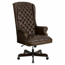 High Back Traditional Tufted Leather Executive Office Chair Xout Ffci 360 Brn G
