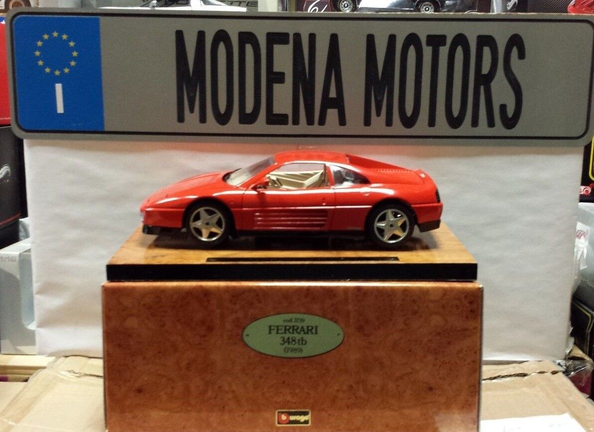 FERRARI 348 tb RED BURAGO EXECUTIVE EDITION ON SHINY WOOD BASE 1 18 RARE IN BOX
