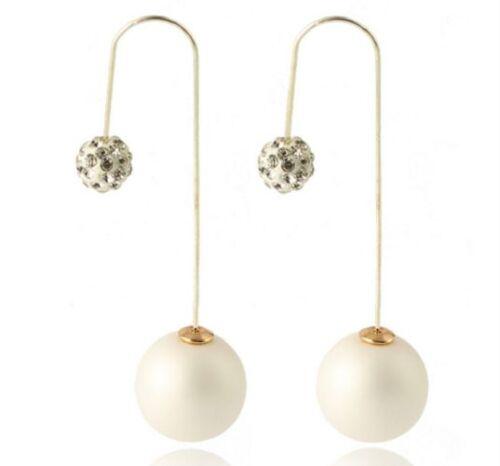 """Boucles d/'oreilles pendantes /""""Duo Perles/"""" BLANC Bijoux fantaisie"""