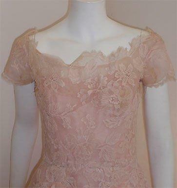 CEIL CHAPMAN 1950s Light Pink Lace Cocktail Dress - image 6