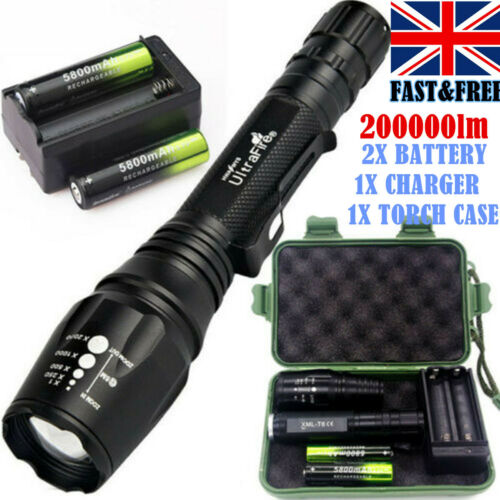 18650+Charge+Case Tactical 200000LM 5Mode T6 LED Police Flashlight Zoom Torch