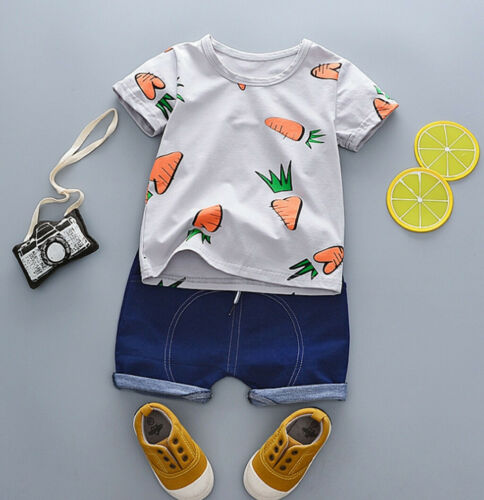 Toddler Baby Kids Boys Pineapple T-shirt Tops+Solid Shorts Casual Outfits Sets