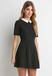 EUC-Forever-21-Black-amp-White-Peter-Pan-Collar-Textured-Wednesday-Addams-Dress-S