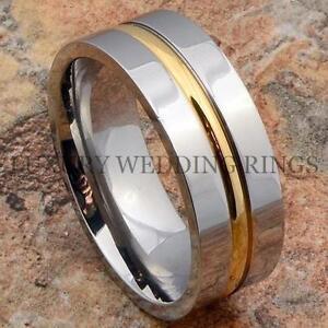 Image Is Loading Anium Ring 14k Gold Line Mens Wedding Band