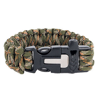 Kit Paracord Bracelet Scraper Whistle Fire Starter Survival Explore Outdoor