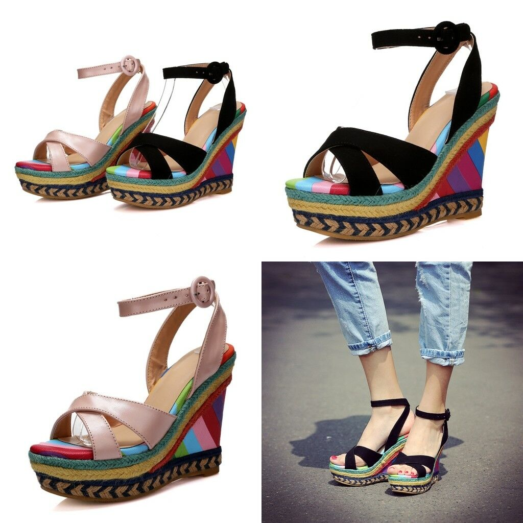 femmes Ankle Strap Couleurblock Wedge High Heels Leather Peep Toe Casual chaussures