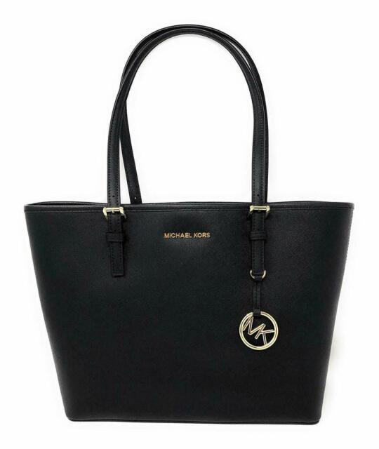 price reduced famous brand shoes for cheap Michael Kors 35H7GTVT2L Jet Set Medium Carryall Leather Tote - Black