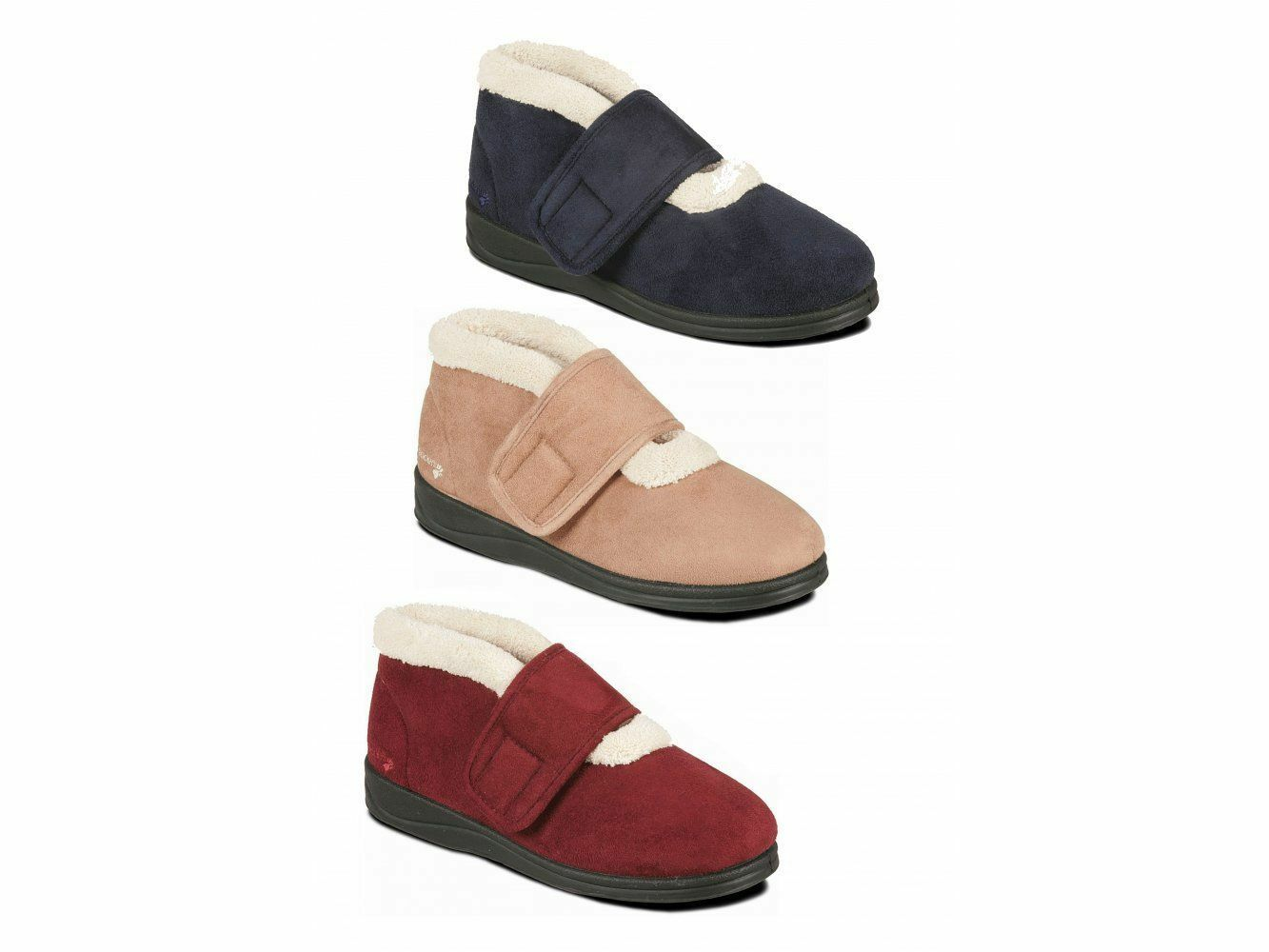 Padders SILENT Ladies Womens Microsuede Extra Wide Fitting Boots Slippers