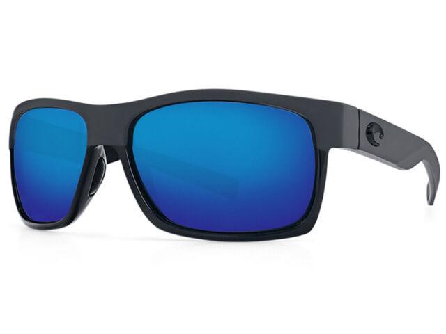 9cb34a43a6 NEW Costa Del Mar HALF MOON Shiny Black Matte Black 580 Blue Mirror Plastic  580P