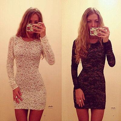 New Sexy Womens Bodycon Slim Lace Mini Dress Cocktail Club Party Dress Stylish