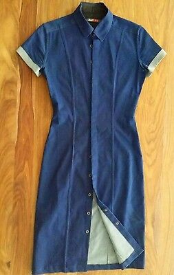 DARYL K-189 Dark Denim Blue Fitted Tailored Stretch Shirt Dress Small