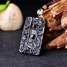 Beautiful natural white ice jade carnelian hand carving guan yu pendant necklace