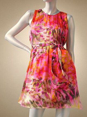 NWT Women's Sizes 8 10 Jennifer Lopez Watercolor Pleated Shift Dress