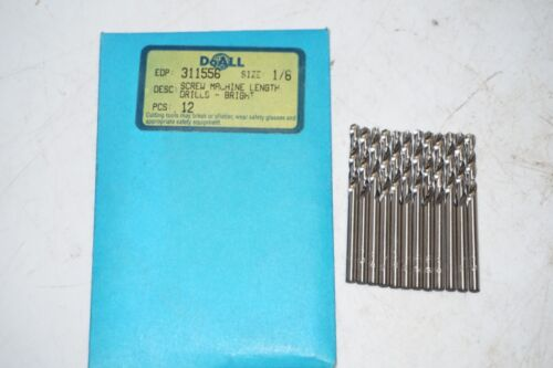 """12 new pcs GREENFIELD 1//8/"""" Screw Machine Length HSS Twist Drills Bits Bright USA"""