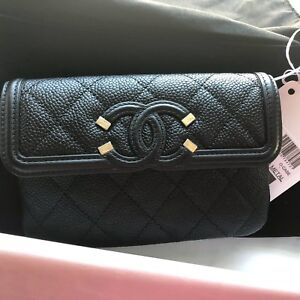 brand new 93db9 83a2c Details about New Auth CHANEL Filigree Black Caviar Leather Wallet Case  Clutch Italy Beautiful