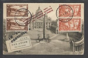 Italy Sc C40-C41 pairs on 1933 double Post Card, First Flight cancels, cplt set.