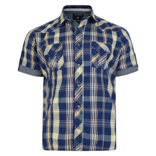 Kam Mens Short Sleeve Cotton Shirts Big /& Tall King Size Casual Checked