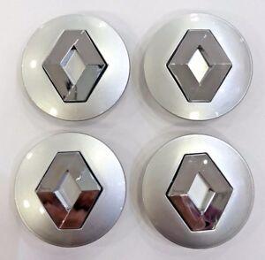 4x-57mm-silber-Renault-Nabenkappe-Kappen-Hub-Megane-Laguna-Clio-Twingo