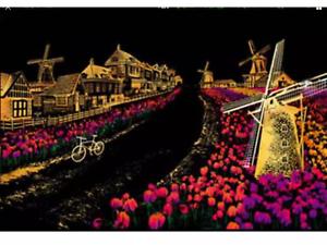 Kratzbild-Kratzbilder-Bastelset-Bild-Engraving-034-Holland-034-40x28cm-DE-Versand