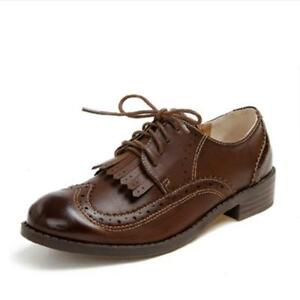 Women-039-s-British-Retro-Low-Heels-Tassel-Wingtip-Brogues-Lace-Up-Oxford-Shoes-New