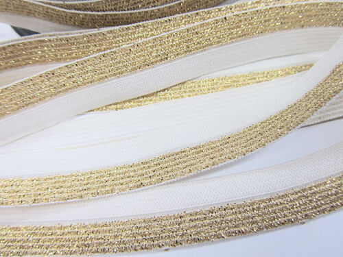 10 yards Metallica Elastic Band 15mm Lace Trim//Trimming//Sewing T193-Gold//White