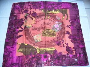 """FOULARD EN SOIE CHRISTIAN  LACROIX """"Plaza de Toros"""", orange et violet, TBonEtat"""