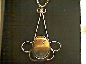 Vintage-Sterling-Silver-Tigers-Eye-Pendant-and-16-034-Trace-Chain-Necklace