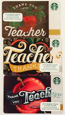 STARBUCKS TEACHER CARD LOT OF 3-2014-2015-2016-THANK YOU TEACHER CARDS