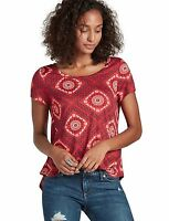 Lucky Brand - Womens Xs - - Red Geometric Diamond Tile Print Tee - Knit Top