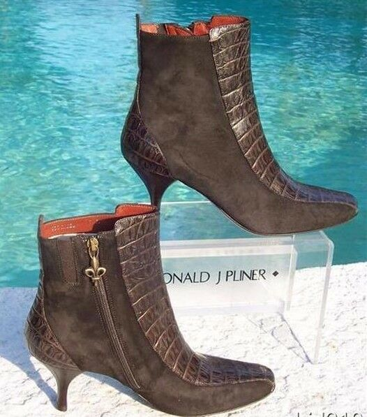 Donald Pliner Couture Gator Leather Suede Boot shoes New 5.5 Signature  325 NIB
