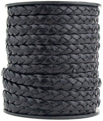 Xsotica® Gray Distressed Flat Braided Leather Cord 5mm 1 meter Flat Rate Ship