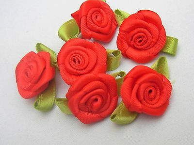 2cm SATIN RIBBON ROSES - VARIOUS AMOUNTS - SEWING KNITTING WEDDINGS DRESSMAKING