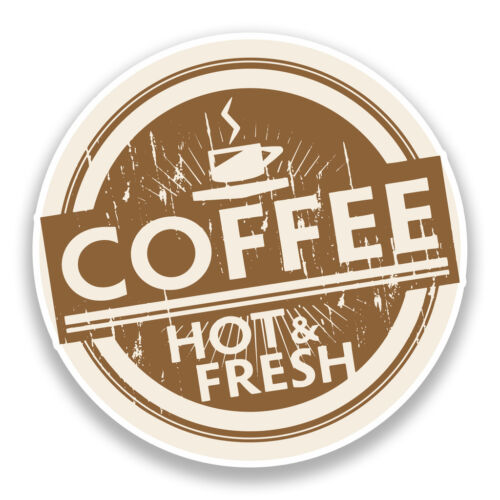 2 x Coffee Hot and Fresh Vinyl Stickers Shop Decoration #7230