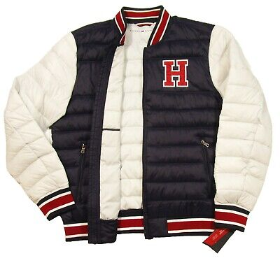 Tommy Hilfiger Men's NavyWhite Colorblock H Patch Quilted Puffer Jacket $145 | eBay