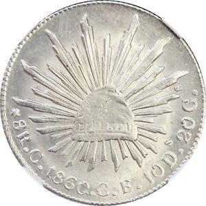 Mexico-8-Reales-C-1860-C-E-Culiacan-NGC-AU-Details-Clenaed-KM-377-3