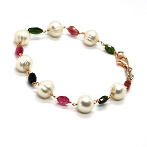 SILVER-925-BRACELET-WITH-TOURMALINE-GREEN-ROSE-AND-WHITE-PEARLS