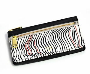 Fossil Wallet PRESTON Leather Flap Clutch Zebra Print/White/Black Leather