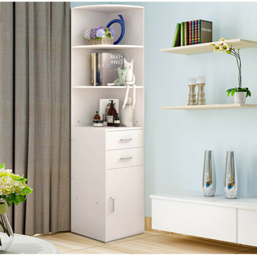 Corner Shelf Wall Storage Unit Stand Display Bookcase Cupboard 2 Drawers Cabinet