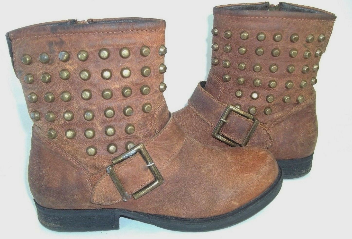 Aldo Damenschuhe Stiefel Ankle US7 Braun Leder Studded detail Zip Buckle distressed
