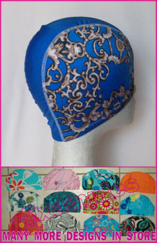 Adults LYCRA SWIMMING CAP BLUE PATTERNED Designer Swim Hat ADULT NEW