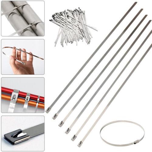 100 x Edelstahl Metall Kabelbinder Umwickeln Auspuff Reißverschluss Metalband DE