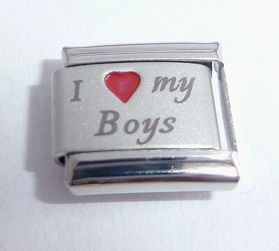 I LOVE MY SONS 9mm Italian Charm RED HEART fits Classic 9mm Bracelets Boys Son