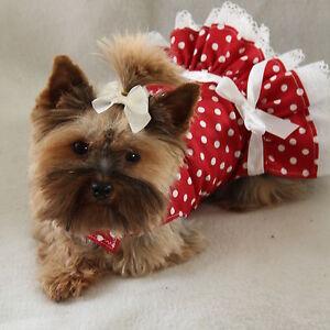 e4222a5d67 XXXS New Red White Polka Dot Party Dog dress clothes pet apparel ...